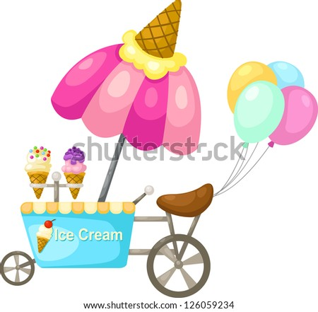 cart stall and a ice cream. Vector illustration  on white background - stock vector