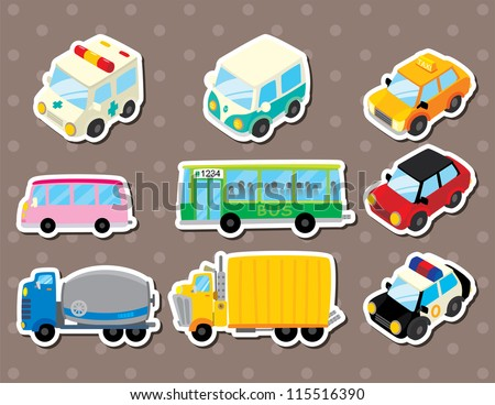 cart stickers - stock vector