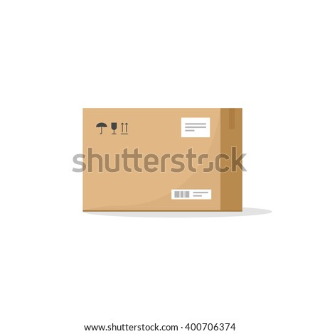 Carton box container vector illustration, cardboard box pack with handling packing icons, text stickers, bar code, closed parcel box, package paper box flat cartoon design isolated on white - stock vector