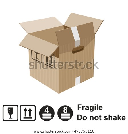 Carton box with warning signs, vector, flat design, elements
