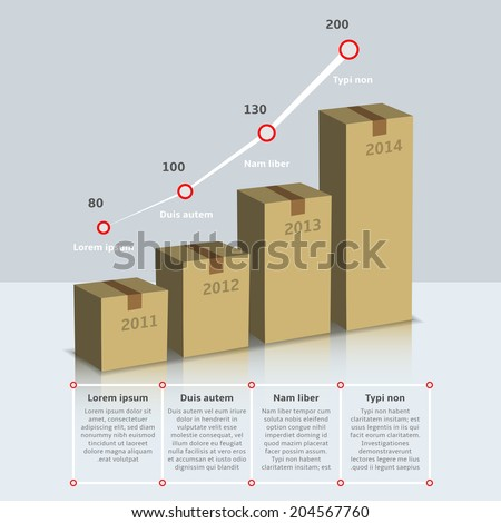 Carton cardboard box growth infographic time line with years and text vector illustration - stock vector