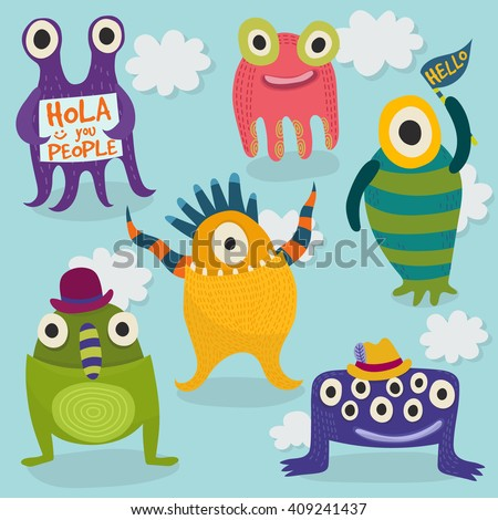 Carton monsters set. Bright happy monsters. Set of vector monsters in different poses. Vector illustration