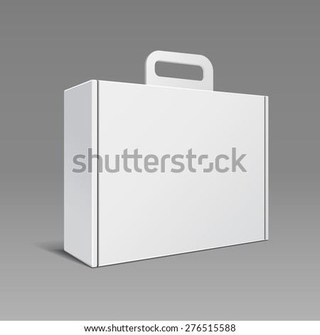 Carton Or Plastic White Blank Package Box With Handle. Briefcase, Case, Folder, Portfolio Case. Ready For Your Design. Product Packing Vector EPS10 - stock vector
