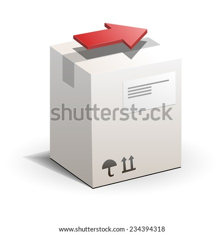 Carton package box with red arrow