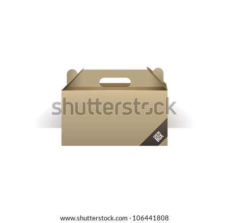 carton paper briefcase, case, folder, portfolio case, box - stock vector