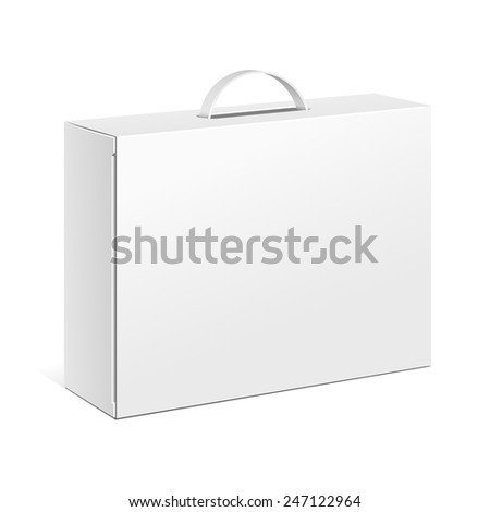 Carton White Blank Box With Handle. Briefcase, Case, Folder, Portfolio Case.  Illustration Isolated On White Background. Mock Up Template Ready For Your Design. Product Packing Vector EPS10. Isolated. - stock vector