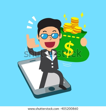 Cartoon a businessman and smartphone - stock vector