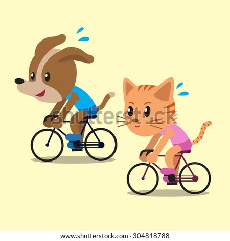 Cartoon a cat and a dog ride bikes - stock vector