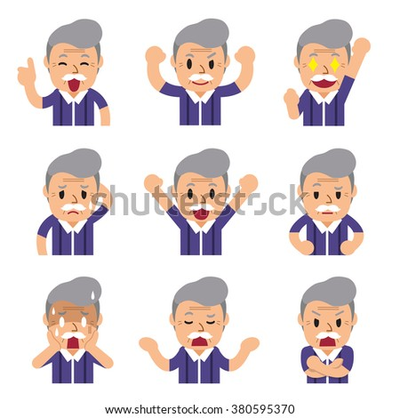 Cartoon a senior man faces showing different emotions