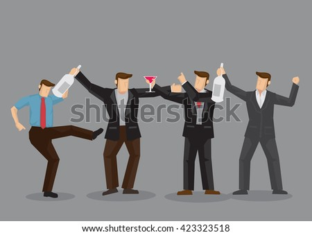 Cartoon adult men drinking alcoholic beverages and making merry together. Vector cartoon illustration on adult men drinking and having good time concept isolated on grey background. - stock vector