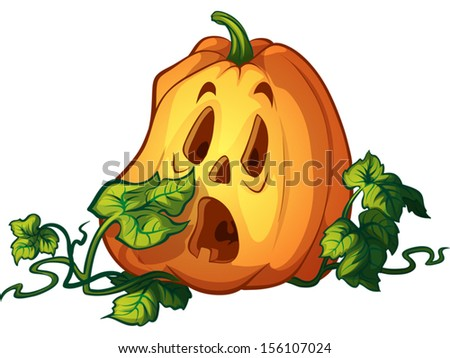 Cartoon afraid pumpkin. Design elements for Halloween. Vector illustration on a white background