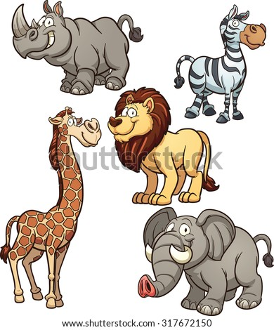 Cartoon African animals. Vector clip art illustration with simple gradients. Each on a separate layer.  - stock vector