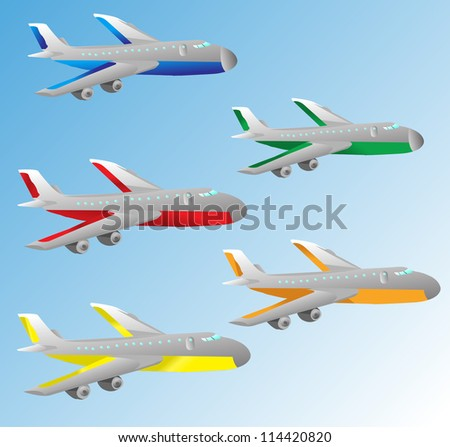 cartoon airplane - stock vector