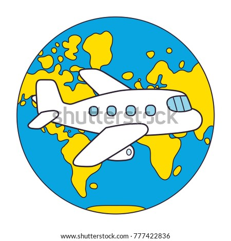cartoon airplane in front of world map globe