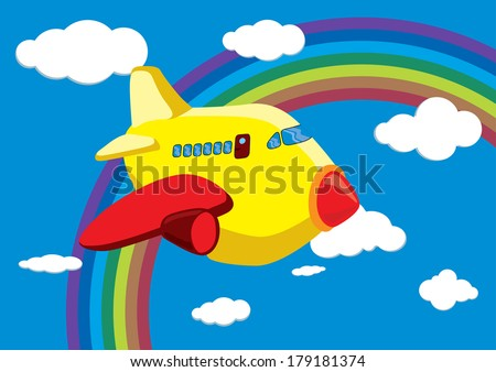 Cartoon Airplane in the Rainbow Sky - Vector Illustration - stock vector