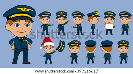 Cartoon Airplane Pilot Vector Set
