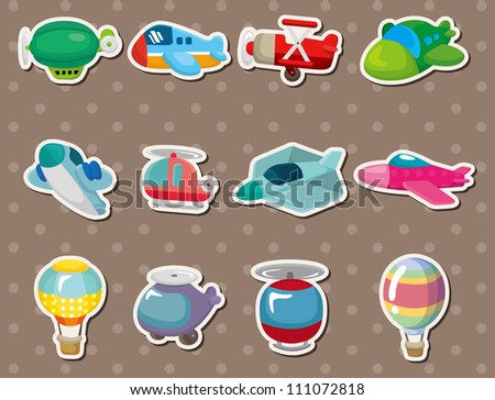 cartoon airplane stickers - stock vector