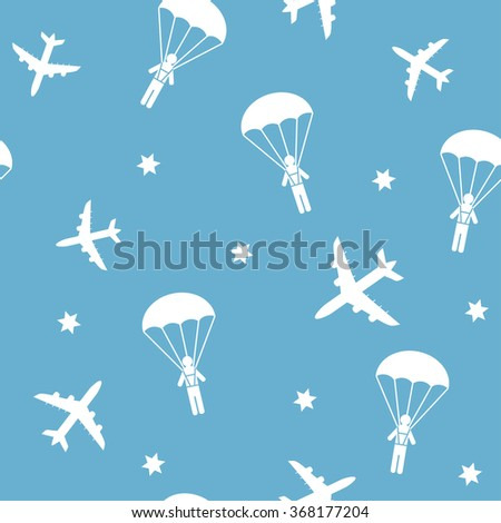 Cartoon airplanes and parachutists. Airplane seamless pattern, background, vector seamless texture can be used for wallpaper, pattern fills, web page,background,surface.  - stock vector