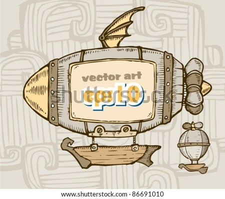cartoon airship. advertising on board - stock vector