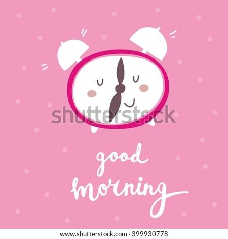 Cartoon alarm clock. Good morning card - stock vector