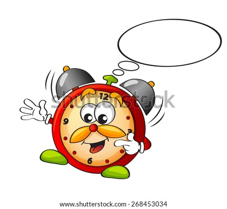 Cartoon alarm clock with speech bubble  - stock vector