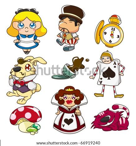 cartoon Alice in Wonderland - stock vector