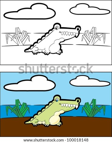 Cartoon alligator sitting in a marsh in the everglades - stock vector