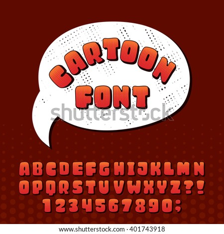 Cartoon alphabet font. Hand drawn letters and numbers. Stock vector typeset for your design. - stock vector