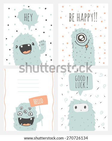 Cartoon and funny monsters cards with place for your text. Set of cute doodle monster greeting or invitation card. Retro colors. Be happy. Good luck. Vector illustration