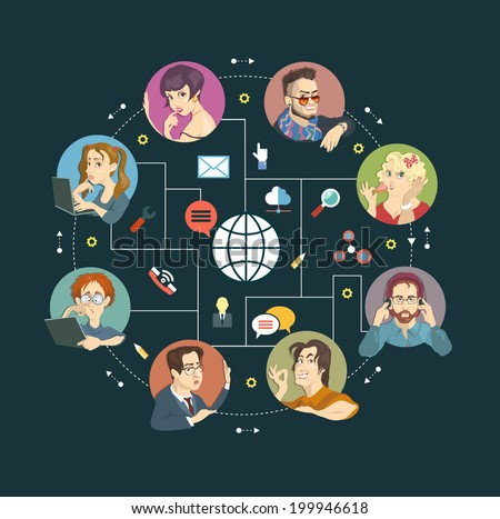 Cartoon and Icons. Concept Internet comunications. - stock vector