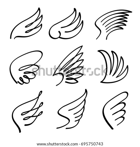 Cartoon angel wings vector set sketch doodle winged abstract emblems isolated on white background
