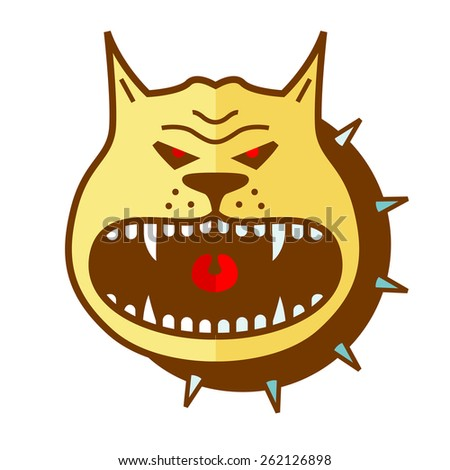 Cartoon angry dog  vector shape - stock vector