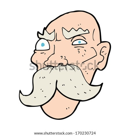 Angry Old Man Drawing Two Cartoon Animal Cou...