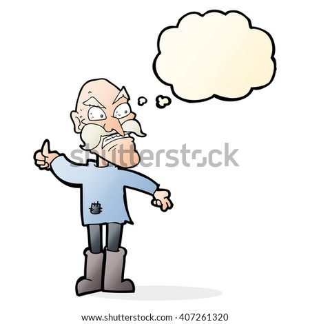 cartoon angry old man in patched clothing with thought bubble - stock vector
