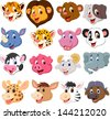Cartoon animal head collection set - stock photo