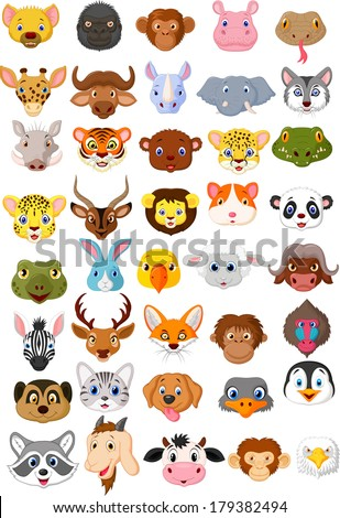 Cartoon animal head collection set - stock vector