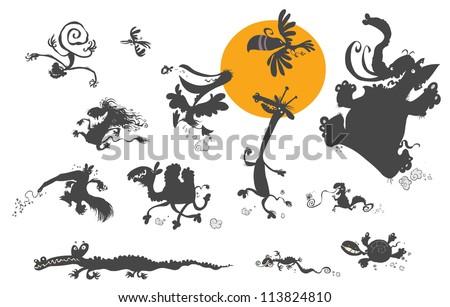 Cartoon Animal Silhouettes. - stock vector