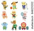 cartoon animal sport player icons set - stock vector
