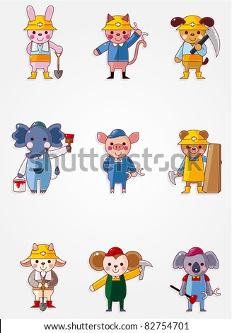 Cartoon animal worker icons,Building industry