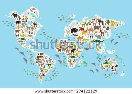 Cartoon Animal World Map Children Kids Stock Vector 294122129