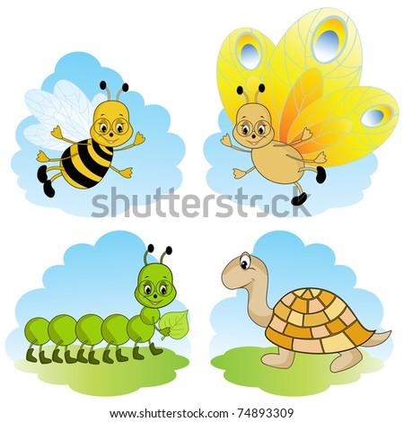 Cartoon animals. Baby vector illustration. - stock vector