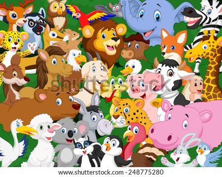 Cartoon animals background - stock vector