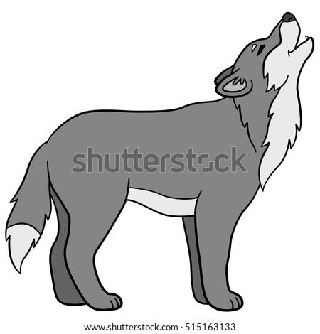 cartoon animals beautiful wolf stands howls stock photo (photo