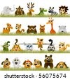 cartoon animals (big set) - stock photo