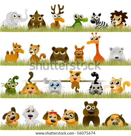 cartoon animals (big set) - stock vector