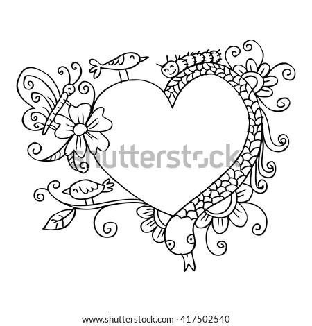 Cartoon animals card. Hand drawing illustration. - stock vector