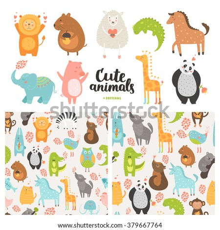 Cartoon animals collection and seamless patterns. Vector cute pig, lion, sheep, dog, bird, rabbit, panda, elephant, giraffe, horse isolated on white background, baby animals in love - stock vector