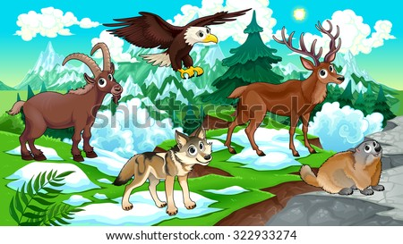 Cartoon animals, deer, eagle, groundhog, wolf with landscape. Vector cartoon illustration. - stock vector
