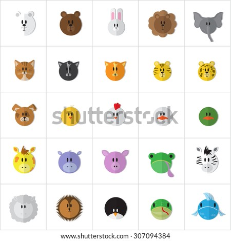 Cartoon Animals Face Set - Isolated On White Background - Vector Illustration, Graphic Design, Editable For Your Design - stock vector