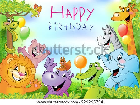 Cartoon animals, festive background or Birthday greeting card